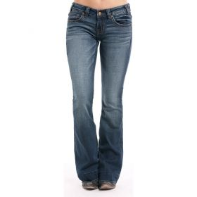 Women's Rock & Roll Cowgirl Vintage Wash Extra Stretch Trouser Jeans