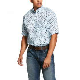 Ariat Crystal Blue Norristown Cactus Print Classic Fit Shirt