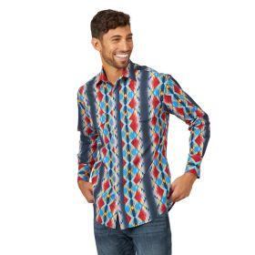 Wrangler Checotah Long Sleeve Snap Grey Printed Shirt
