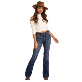 Women's Rock & Roll Cowgirl High Rise Extra Stretch Flare Leg Jeans