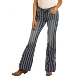 Women's Rock & Roll Cowgirl Mid Rise Striped Flare Leg Jeans