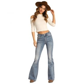 Women's Rock & Roll Cowgirl Extra Stretch High Rise Flare Leg Jeans