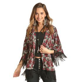Rock & Roll Cowgirl Rose & Stripe Print  Fringe Kimono