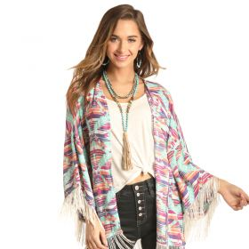 Rock & Roll Cowgirl Pink/Blue Aztec Fringe Kimono