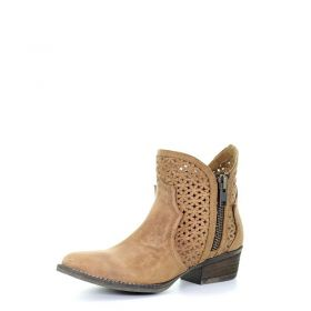 Circle G by Corral Ladies Tan Cut-Out Booties