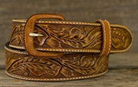 Vogt Russet, Fully Hand Tooled Belt in a Running Oak Leaf Pattern