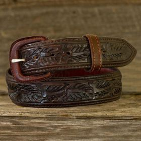 Leather Belt - Saddle Brown Skived Leaf
