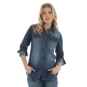 Wrangler Women's Premium Long Sleeve Denim Shirt- Medium Denim