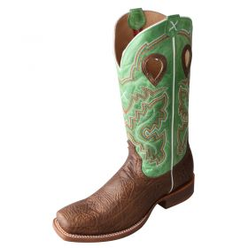 Twisted X Antique Brown Shoulder w/ Lime Green Top Boots