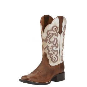 """Ariat Womens' Quickdraw Sandstorm Foot 11"""" Distressed White Upper 10015318"""