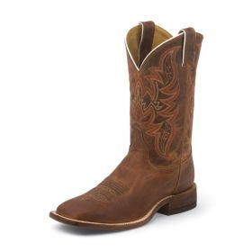 """Justin Men's Bent Rail Collection Distressed Cognac Vamp and 11""""  Upper BR735"""