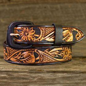 Leather Belt -Two-Toned Black/Russet Floral