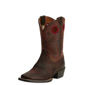 """Ariat Kids' Western Roughstock Wide Square Toe Brown Oiled Rowdy Foot with 8"""" Upper 10014101"""
