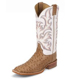 """Justin AQHA Remuda Series Antique Tan Vintage Full Quill Ostrich 13"""" White Cowhide Upper 8572"""