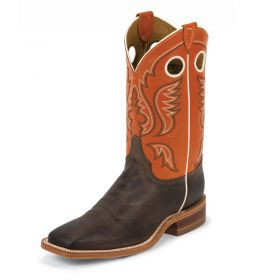 """Justin Mens' Bent Rail Collection Chocolate Burnished Cow Vamp 11"""" light Orange Classic Upper BR314"""