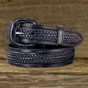 Leather Belt - Black Basket