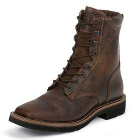 "Justin Lace-R Steel Toe Workboot Rugged Tan Stampede Square Toe 8"" Rugged Tan Upper WK682"