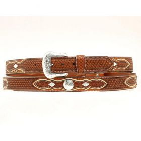 """Nocona Mens Natural Brown Basket Weave with Concho Overlay 1 1/2"""" Belt"""